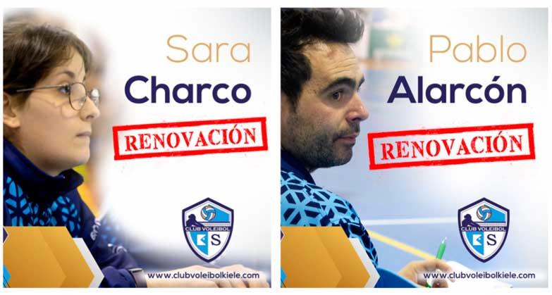 PABLO ALARCÓN y SARA CHARCO continuarán en el Cuerpo Técnico del Kiele para la Liga Iberdrola